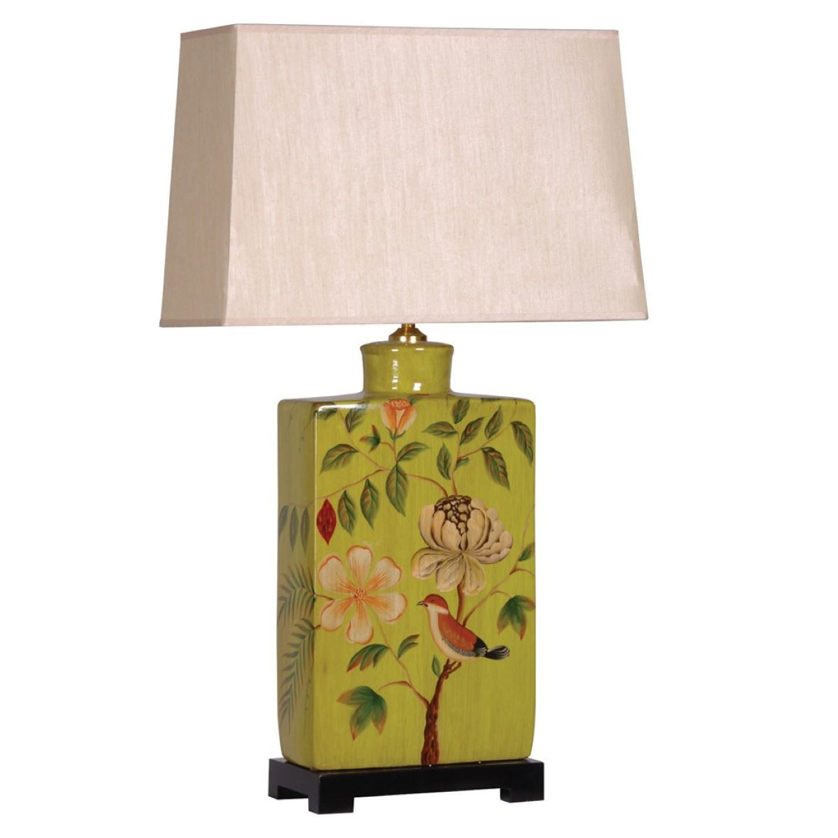 SQUARE GREEN DECORATED LAMP WITH SHADE - HAYGEN