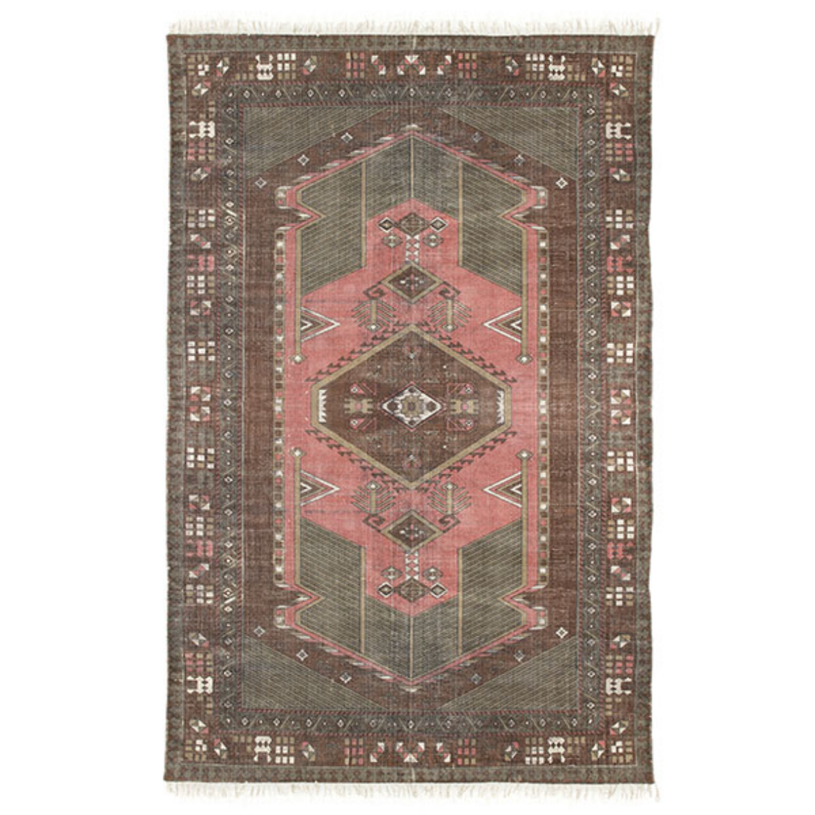 HKliving - Printed Cotton Rug Stonewashed (120x180) - HAYGEN