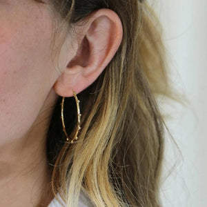 Orelia - Metal Beaded Hoop Earrings