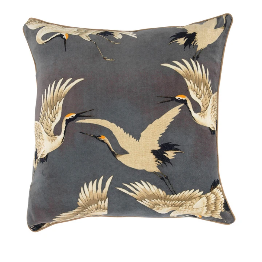 One Hundred Stars - Stork Cushion - Slate Grey 50x50cm - HAYGEN