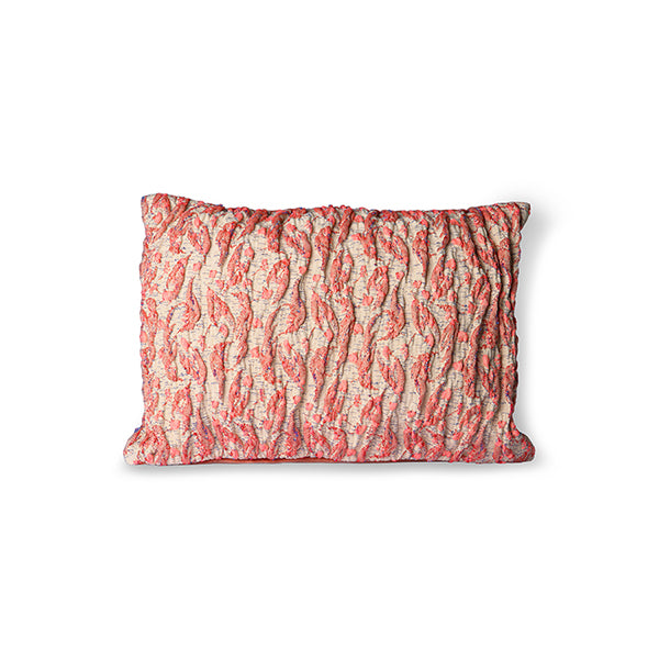 HKliving - Floral Jacquard Weave Cushion - Red/Pink 40x30cm