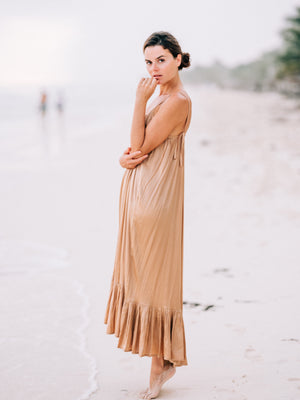 Silk Maxi Dress with Ruffle | Sian Kaan Long