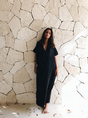 Structured linen kaftan