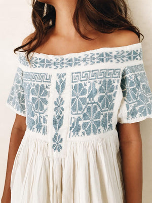 Oaxaca embroidered top | Blue