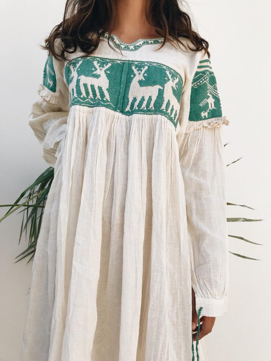 Oaxaca embroidered long sleeve dress