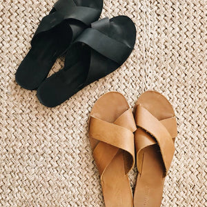 Crossed Leather Sandals