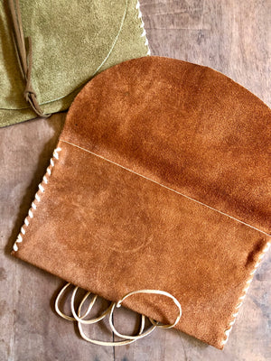 Leather envelope clutch bag