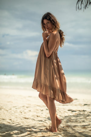 Silk Dress with Ruffle | Sian Kaan Short