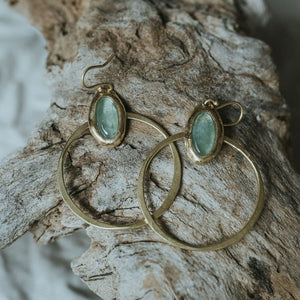 Moss Aquamarine hoops