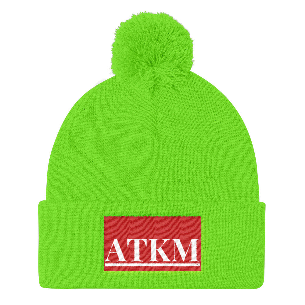 ATKM Label Pom Pom Knit Cap