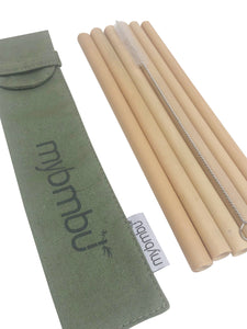 6 PACK - Bamboo Straws With Canvas Bag and Brush - Reusable Straws