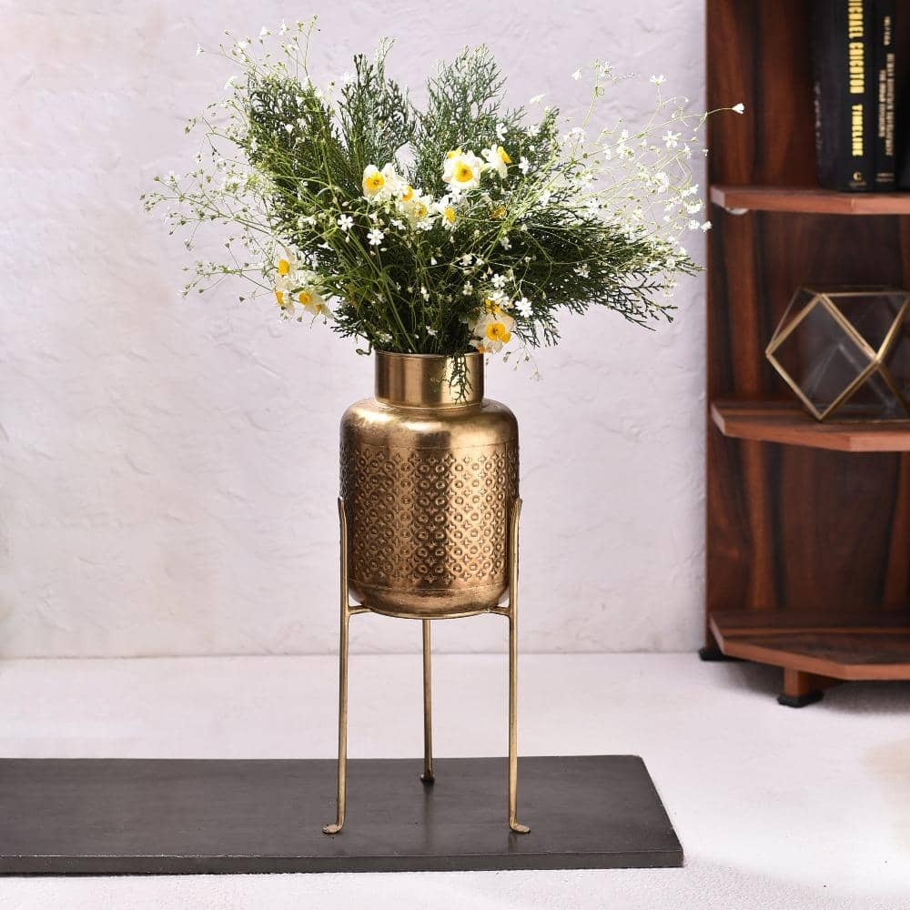 Vintage Gold Planter with Stand