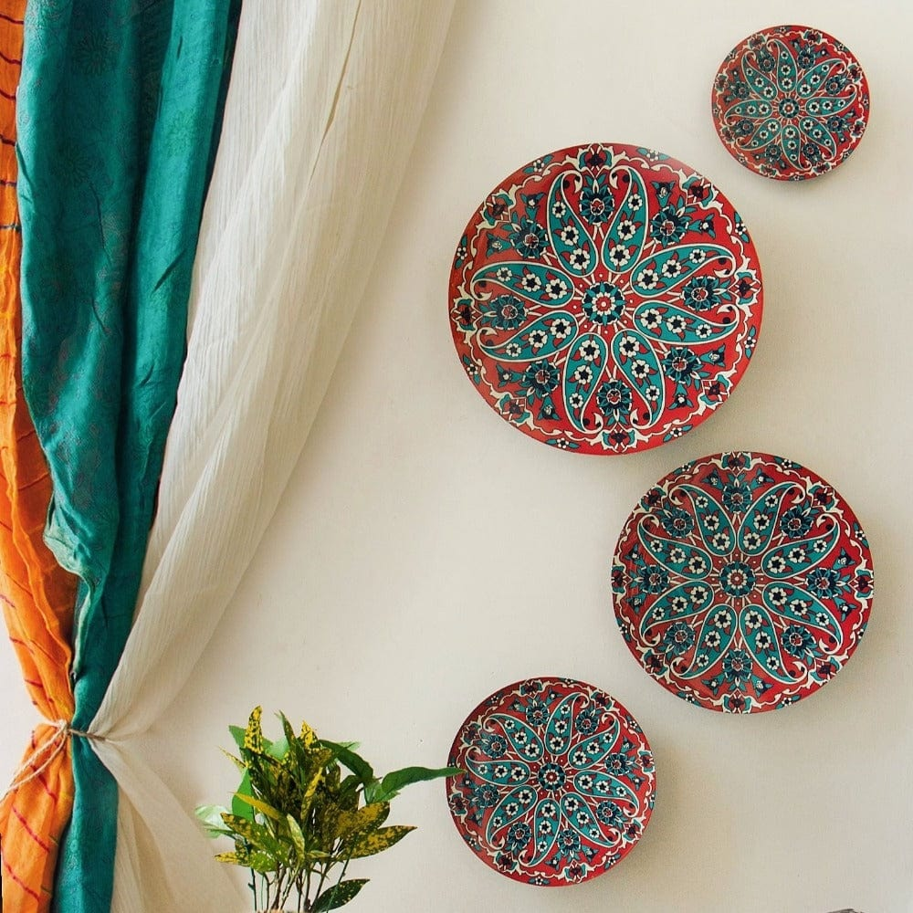 Turkish Paisley Wall Plates- Set of 4
