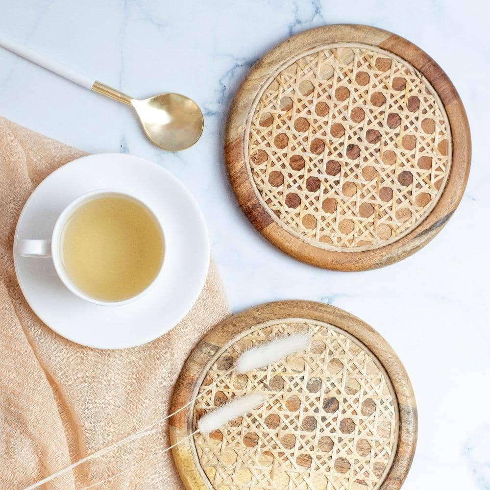 Rattan Trivets and Coasters- Set of 6