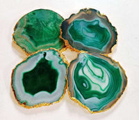 Green Agate Coasters- Set for 4