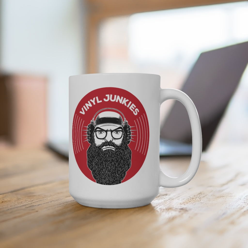 Vinyl Junkies - VJ Record Logo - 15oz Coffee Mug