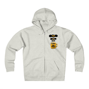 Vinyl Junkies - Heavyweight Fleece Zip Hoodie - Coffee Logo