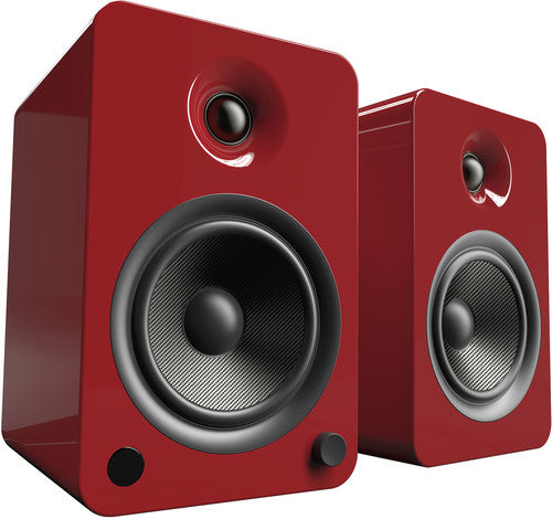 Kanto YU6 Powered Speakers with Bluetooth™ and Phono Preamp - Pair, Gloss Red