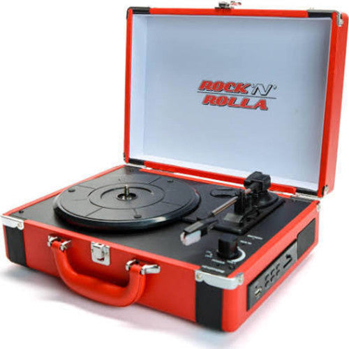 Rock 'n' Rolla Premium Rechargeable Portable Briefcase Turntable w/Bluetooth - Red /Black