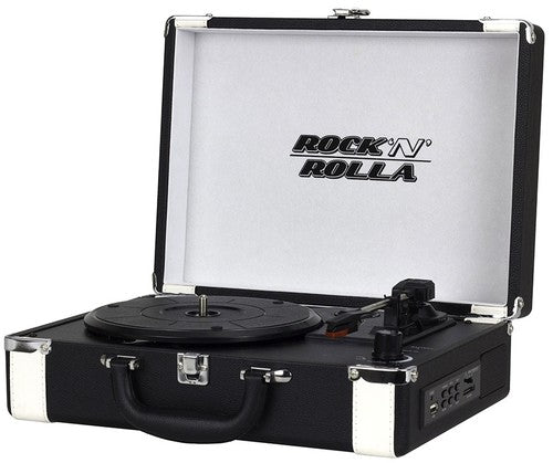 Rock 'n' Rolla Premium Rechargeable Portable Briefcase Turntable with Bluetooth - Blk/Wht