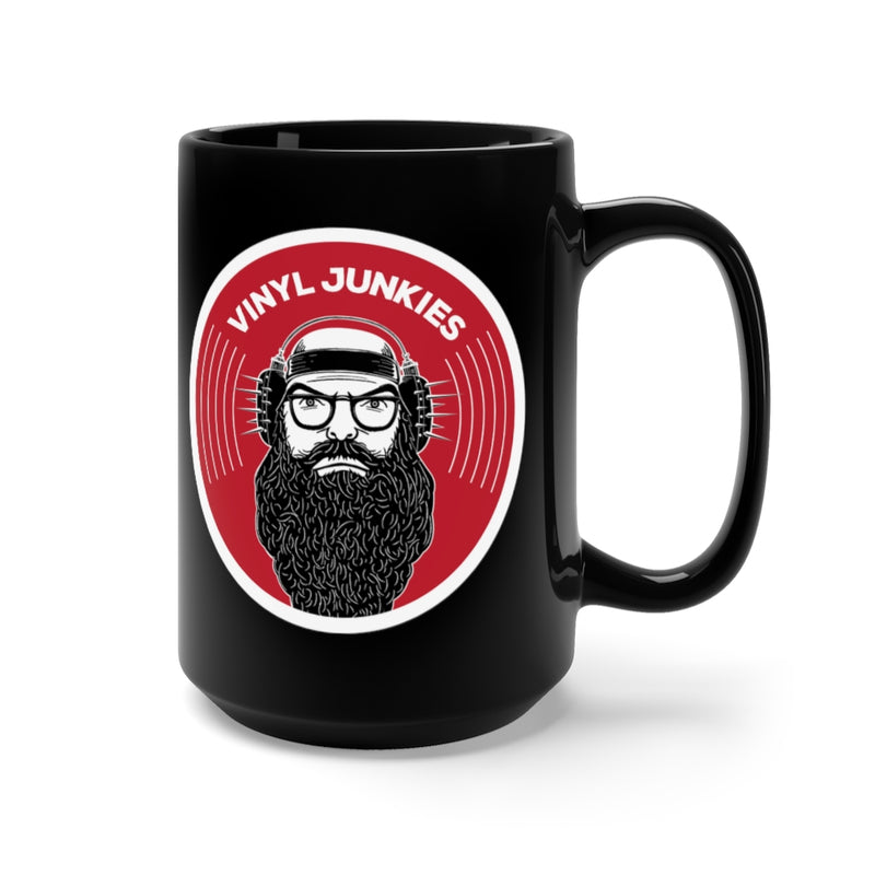 Vinyl Junkies - VJ Record Logo - 15oz Black Coffee Mug