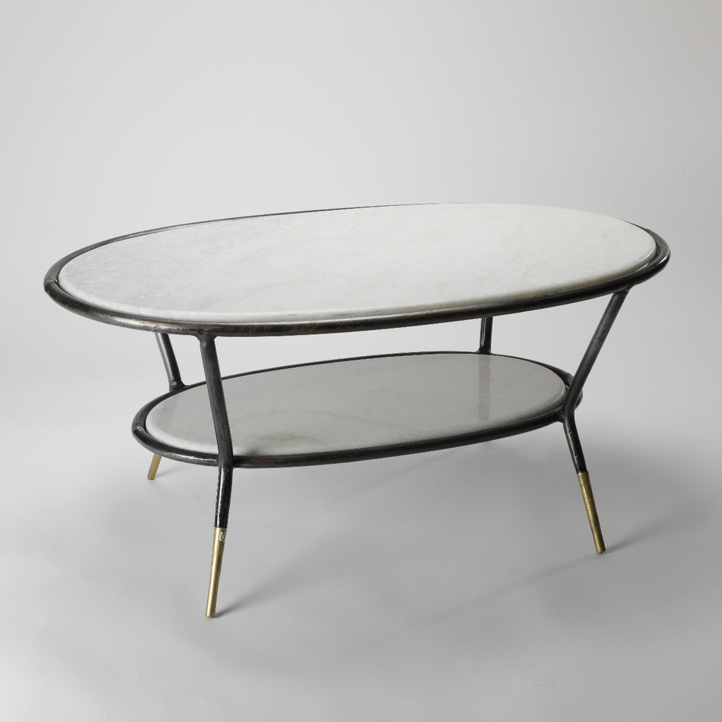 Picture of: Iron Taper Oval Coffee Table W Marble Athaathi