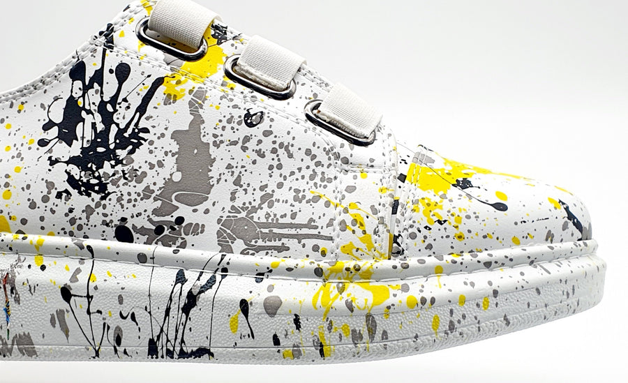 WAG026C MENS YELLOW PAINT ELASTIC SNEAKER