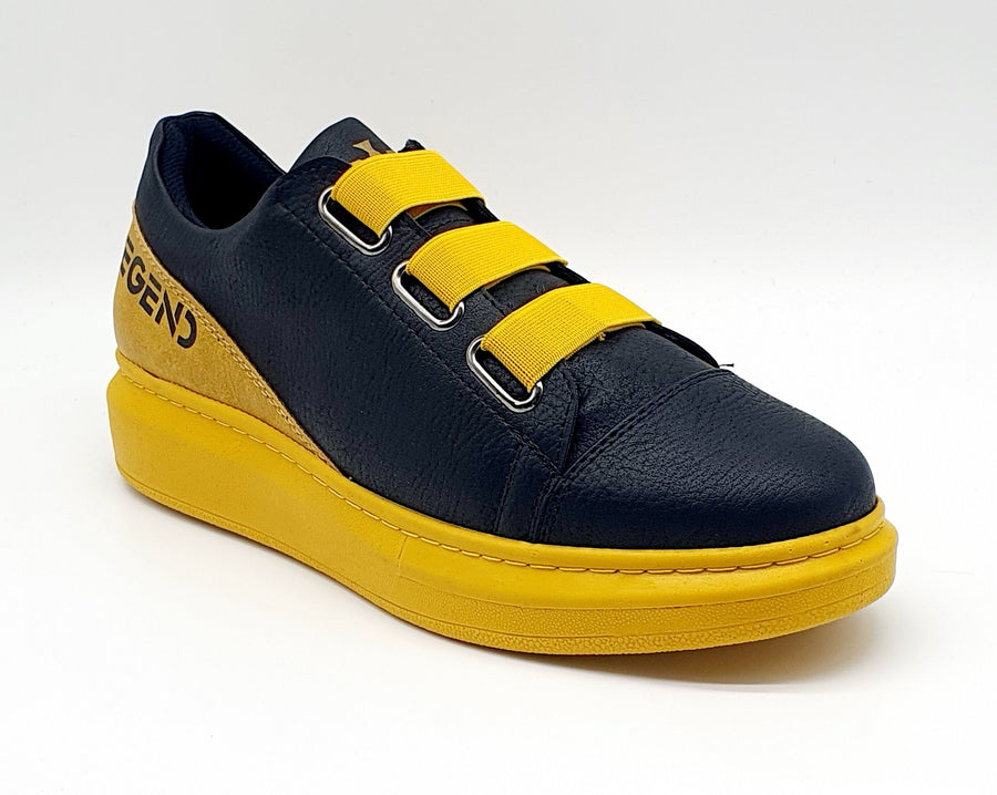 WAG029 MENS BLACK/YELLOW ELASTIC SLIP ON SNEAKER
