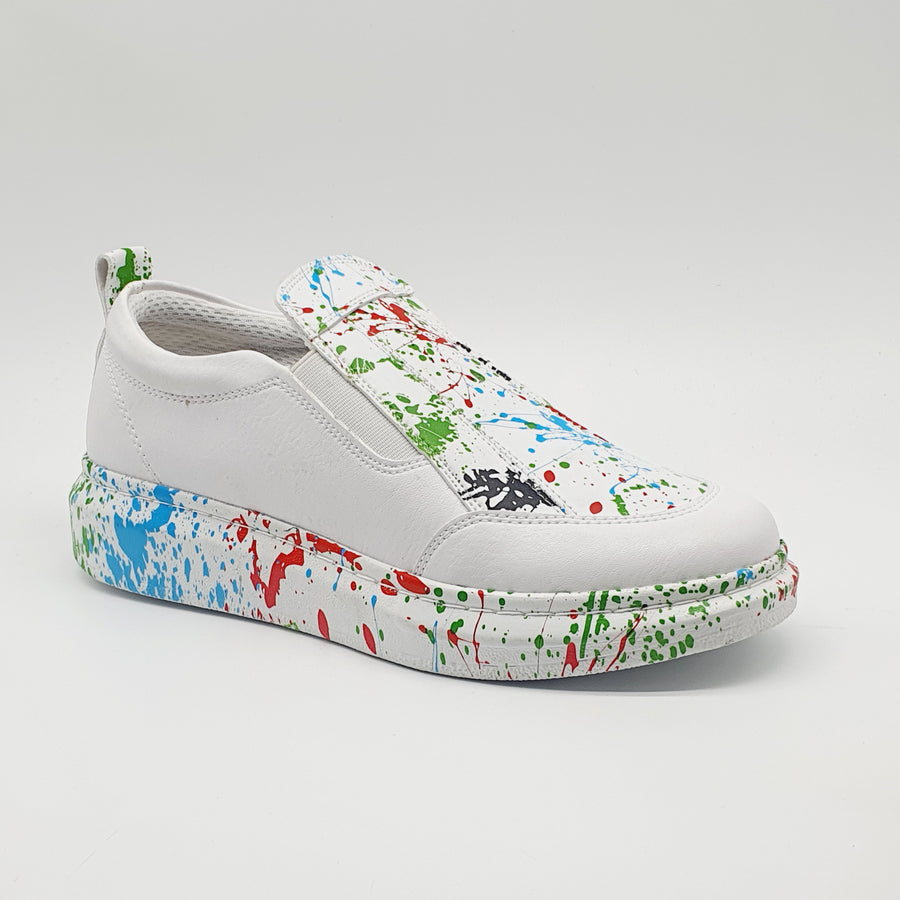 WAG300 LADIES GREEN/RED/WHITE SPLASH SNEAKER