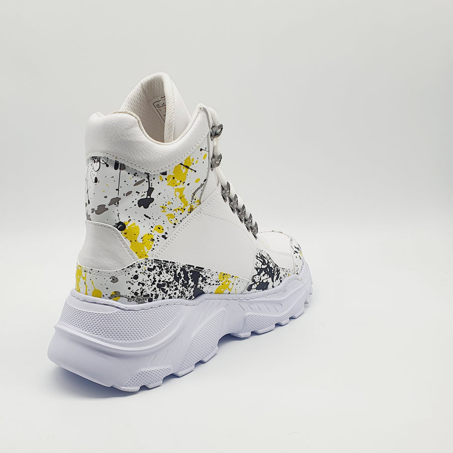 WAG203 MENS YELLOW SPLASH LACE UP SNEAKER BOOT