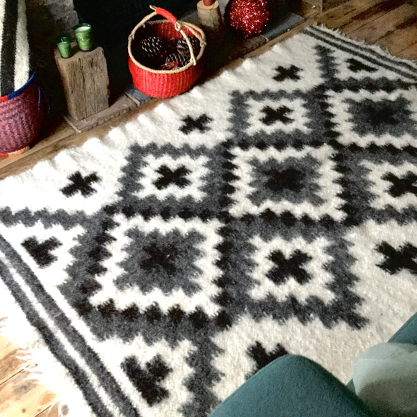 Crosses Wool Thick Rug  Hand Loom Custom Made