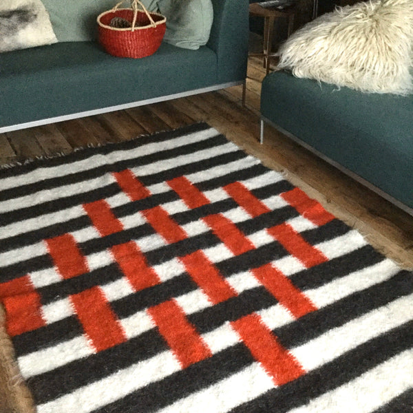 Red And Black Stripes Handwoven Sheep Wool Rug Custom Made