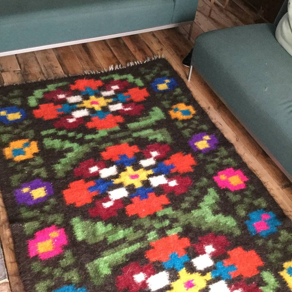 Custom Made Flowers Patchwork Hand woven Wool Rug