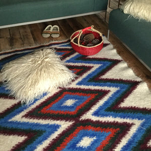 Blue Patchwork Hand Woven Wool Rug Custom Made