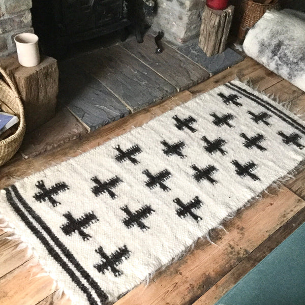 Crosses Rug Organic Sheep Wool Hand Loom  Handmade Custom Made