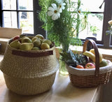 Seagrass Basket with Leather Handles