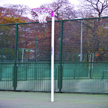 Netball Posts with Pink Ring and Locking Sockets