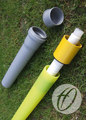 Flag Pole with Flag, Socket & Lid x4 - Yellow Pro Flex 50mm