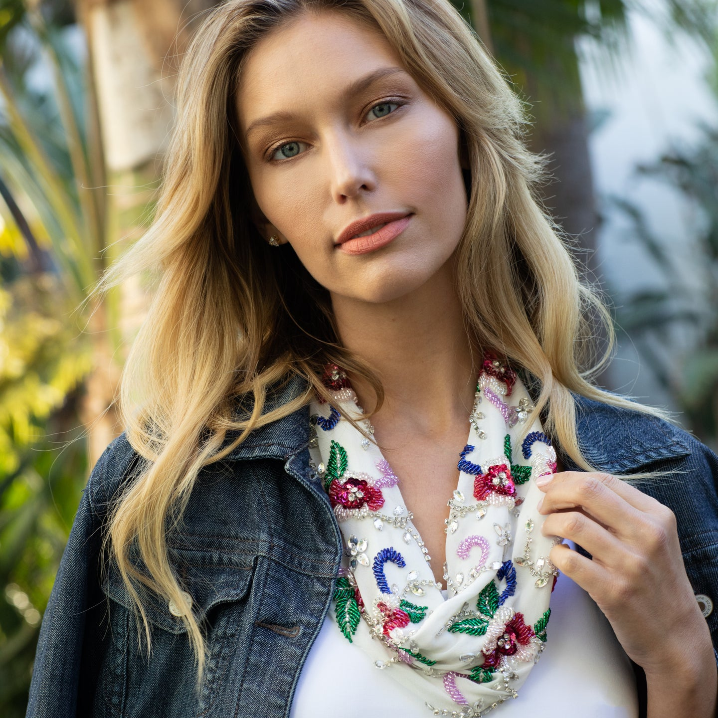 Spring Bouquet Scarf Necklace