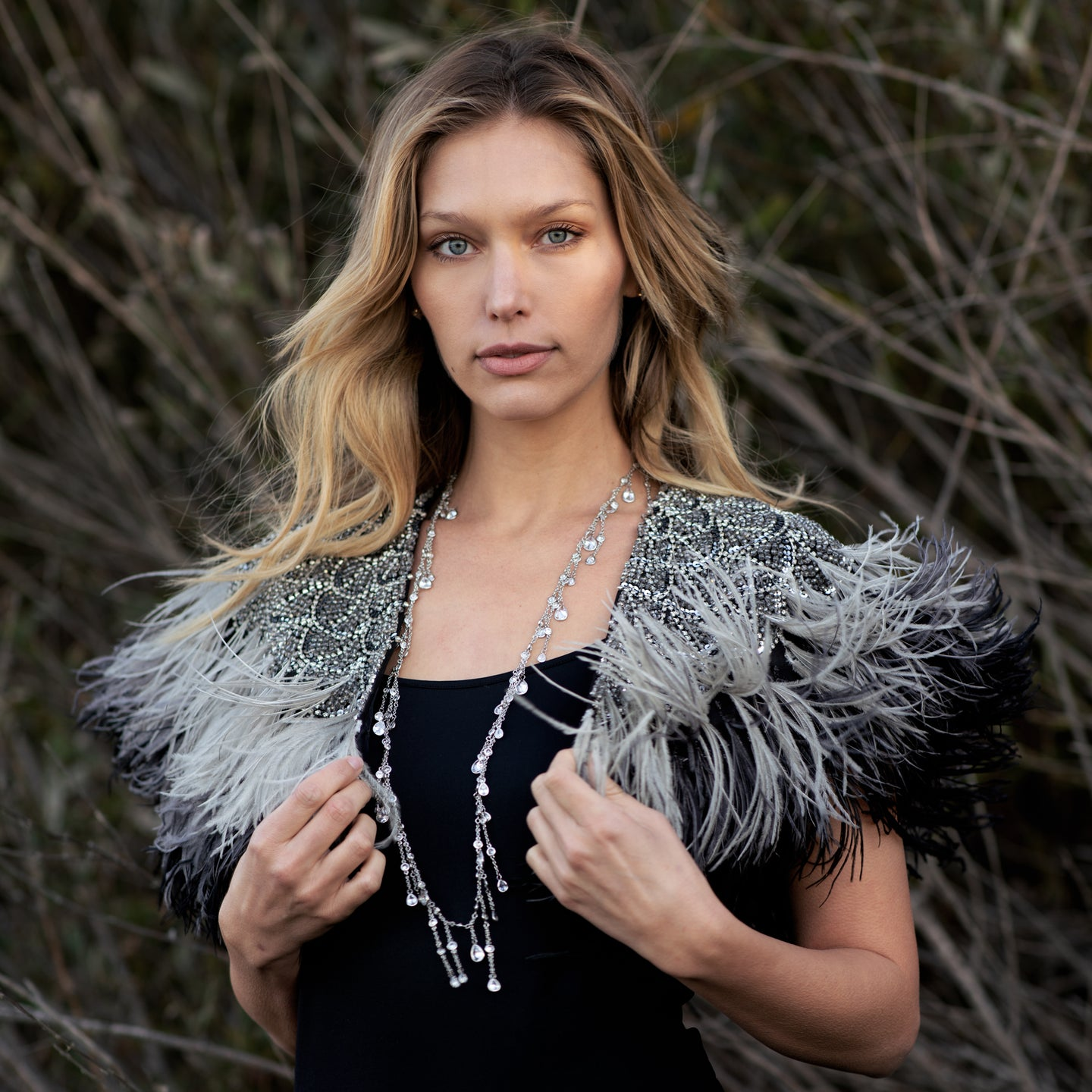 Crystal & Ostrich Capelet
