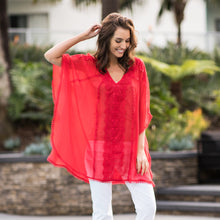 Load image into Gallery viewer, Silk Chiffon Batwing Tunic