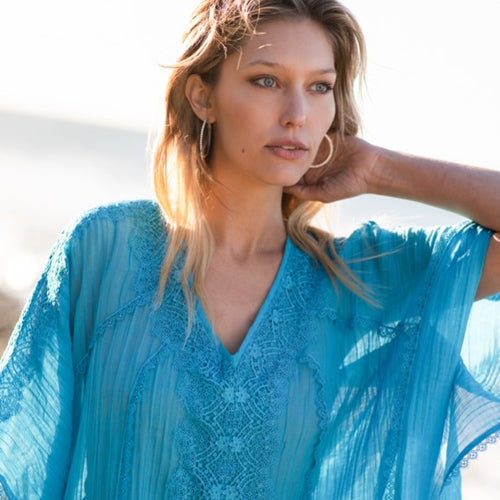 Crinkled Linen Batwing Tunic