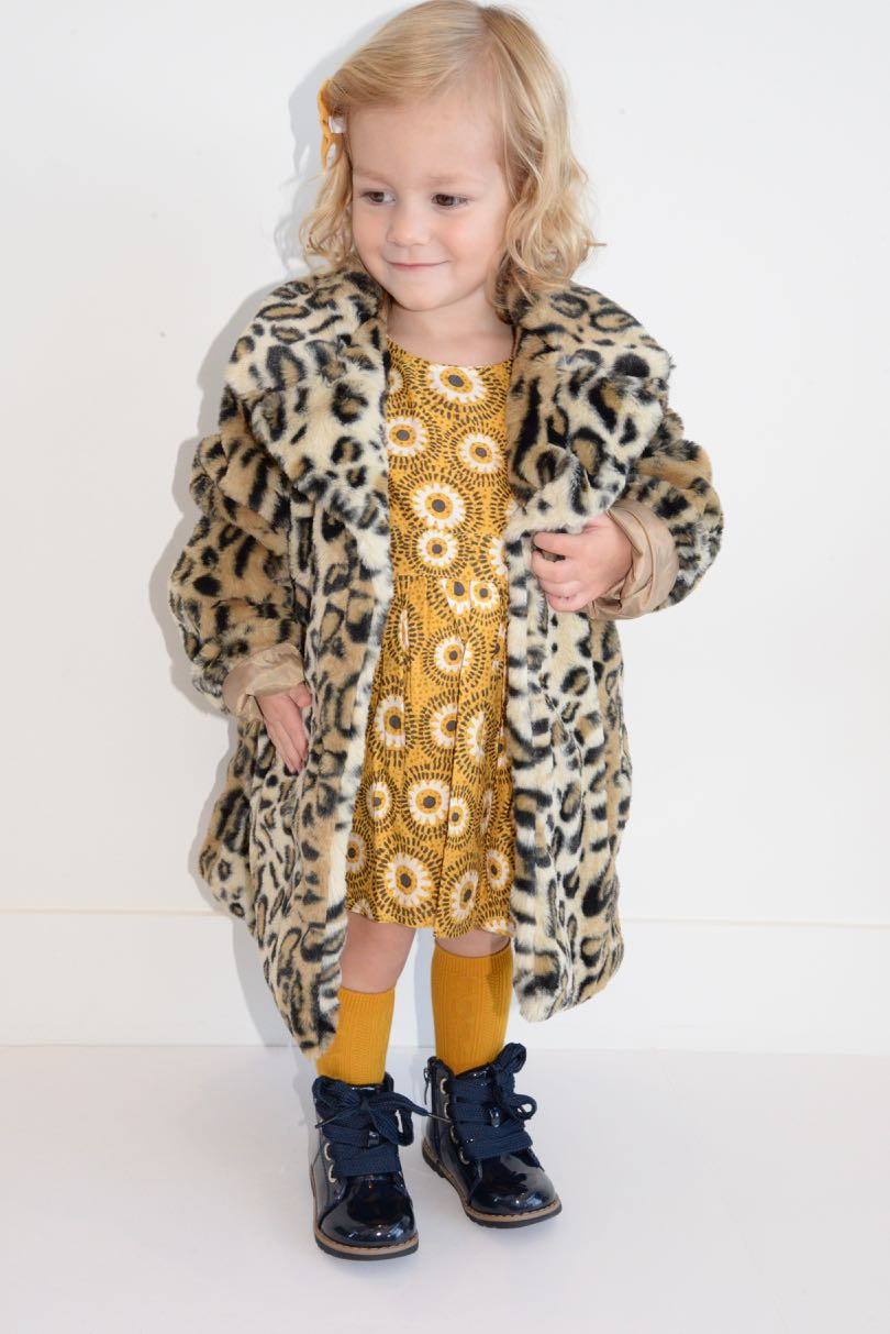faux fur coat  |  spotted
