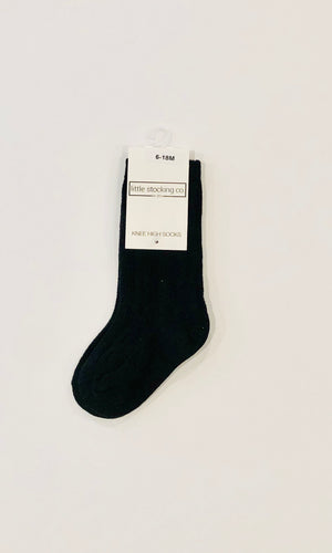 knit knee high socks  |  black