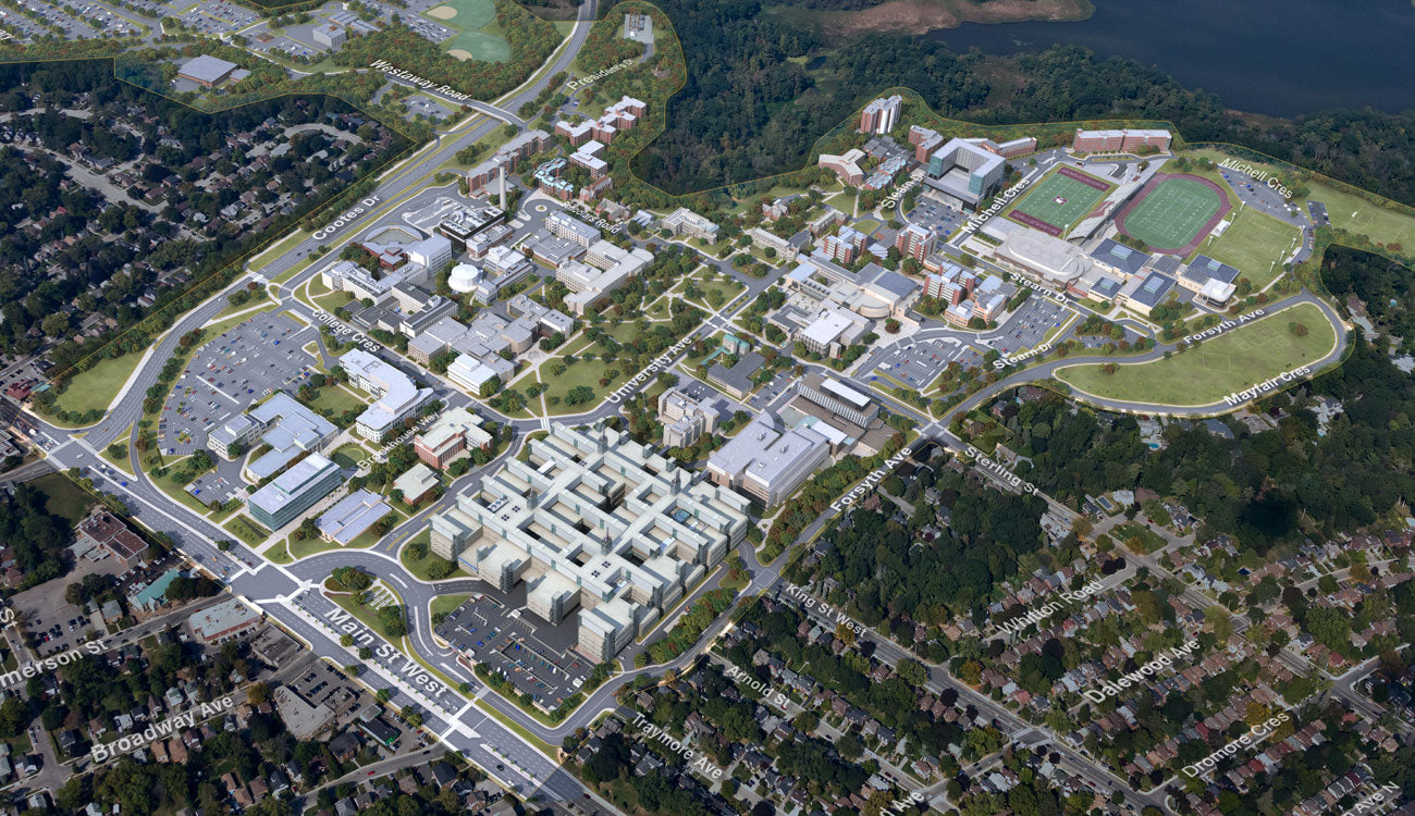 Campus Dorms and College Aerial 3D Rendering College Maps