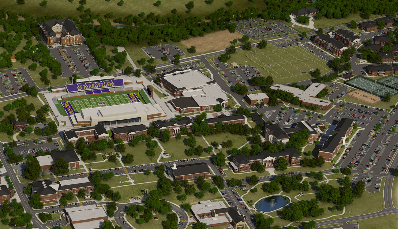 University of Mary Hardin-Baylor 3D Aerial Campus College Map