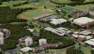 3D Campus Map Rendered Aerial View of City and Forest