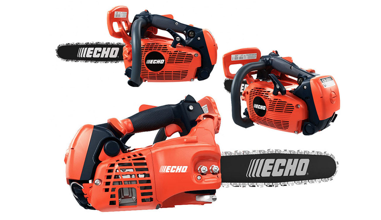 Front Back and Side View of Orange Echo Chainsaw
