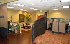 Modern Office with Curved Black River Rock Wall