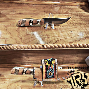 CIRCLE SH KNIFE WITH BEADED SHEATH KNC-67LOWK
